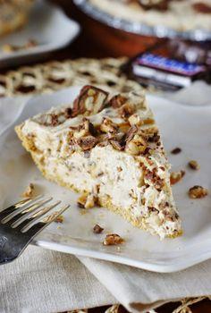 No-Bake Snicker Bar Pie ~ creamy peanut buttery and chocolatey deliciousness.   www.thekitchenismyplayground.com