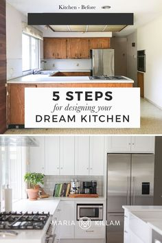 Wood stained cabinets or painted? Which one is right for you? Follow my 5 simple steps to design a kitchen you'll love forever. White Kitchen Decor, White Kitchen Cabinets, Kitchen Countertops, New Kitchen, Beige Wall Colors, Knotty Alder Cabinets, Staining Cabinets, Brown Kitchens, Home Decor Trends
