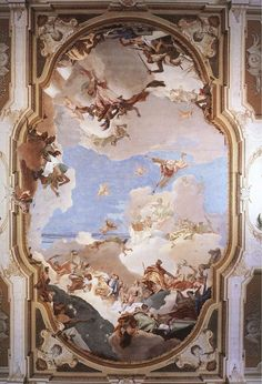 ... irregular oval; 1238x844pix, 183kb _ ZOOM to 2464x1576pix, 336kb) _ The ceiling fresco is conceived as a trompe-l'oeil opening onto a silvery-blue sky, ...
