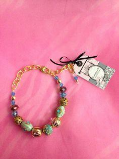Turquoise cristal beaded dog necklace .S/M on Etsy, $23.00