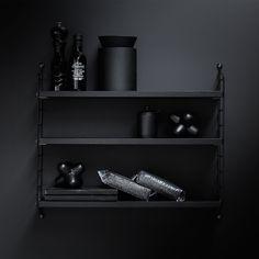 String Pocket shelf, black ash – String #interior #design #scandinavian