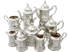 A comprehensive and impressive antique Victorian sterling silver nine piece tea and coffee service / set. SKU: W4197 Price: GBP £12,950.00 #teaset #coffee #teaware #silver #service #Victorian