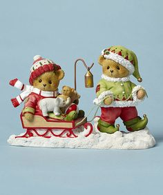 Look what I found on #zulily! Bear Elf Pulling Sled Figurine #zulilyfinds