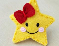 Twinkle Little Star Wool Felt Snap Hair Clip ( Medium Size)