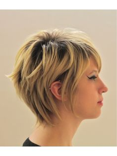 I like the neckline of this cut.a bit jagged and not shaved or straight so you don't lose any of your new found length as you grow out your pixie cut. Maybe more layers so you could flip out the hair Short Layered Haircuts, Short Hair Cuts, Short Hair Styles, Pixie Cuts, Pixie Hairstyles, Pretty Hairstyles, Hairstyle Ideas, Pixie Haircuts, Hairstyles Haircuts