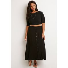 Forever 21 Plus Buttoned High-Slit Maxi Skirt ($18) ❤ liked on Polyvore featuring skirts, high slit skirt, rayon skirt, forever 21 skirts, slit skirt and full length maxi skirt