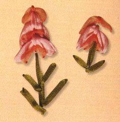 """Fitas bordados. Pontos soltos -""""Asa"""" do ponto -Ponto """"asa"""" refere-se a um grupo de pontos livres, ele se apresentou de maneira muito simples. Ponto é usado em outras técnicas de bordado, nas imagens de insetos, pássaros e flores, como rosas de escalada. Neste exemplo, é usado para as cabeças de flor. Este ponto pode ser utilizado independentemente ou em filas, em seguida, se forma uma borda. É adequado para fitas de diferentes larguras e é executada em qualquer direcção."""