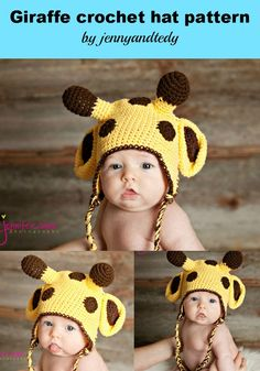 pdf giraffe crochet hat pattern 0-3 month