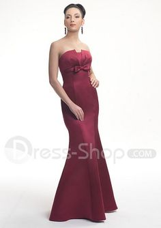 www.dress-shop.com/floor-length-strapless-wine-red-satin-...     Be sure to see our pretty red bridesmaid dresses. Be sure to visit our website for wedding favors, reception decorations, and more. http://www.CreativeWeddingStyle.