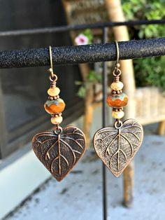 Rustic Fall Leaf Earrings - Fall Czech Glass Earrings - Copper Leaf Dangle - Fall Jewelry - Autumn Colors Fall Earrings - pinned by pin4etsy.com