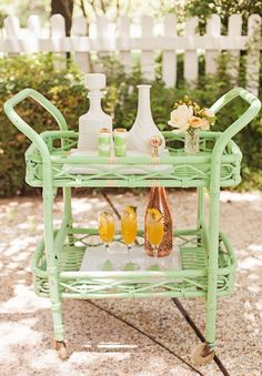 sweet little bar cart #mint #yellow