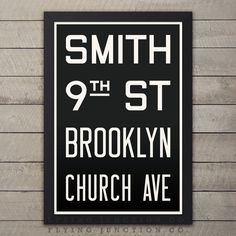 "Brooklyn (Smith / 9th St) New York Subway Roll Sign Print - 12"" x 18"""