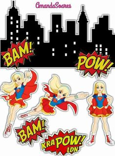 Superhero Theme Party, Party Themes, Image Collage, Dc Super Hero Girls, Ink Stamps, 8th Birthday, Clip Art, Decoupage, Printables