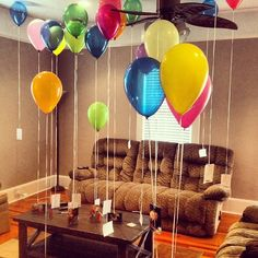 Sweet Photos and notes for the boyfriend! DIY GIFT Anniversary, balloons