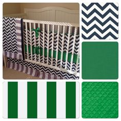 Navy Kelly Green and White Chevron and Stripes Crib Bedding by butterbeansboutique on Etsy https://www.etsy.com/listing/210518190/navy-kelly-green-and-white-chevron-and