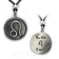 Leo Zodiac Sign Pendant Astrology Horoscope Pewter jewelry necklace