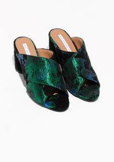 66bdc3a1f3822e Other Stories image 2 of Jacquard Mule in Green Shoes Heels