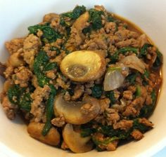 Ground Turkey with Mushrooms, Onions, and Spinach. This is great for Phase 2 minus the coconut oil. I don't like it too hot so I would leave out the habanero. The leftovers can transition to a phase 3 recipe. Broccoli Florets with Leftover Ground Turkey http://www.wholelifeeating.com/2011/08/broccoli-florets-with-leftover-ground-turkey/