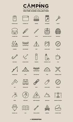Hi guys! I come back here and share with you a set of free #vector #icons – camping! This set includes 40 modern look outline icons in vector presenting these familiar stuffs of the mountaineer and scouts, ect…