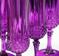 Purple Stemware Art Print by Lainie Wrightson. All prints are professionally printed, packaged, and shipped within 3 - 4 business days. Choose from multiple sizes and hundreds of frame and mat options. Shades Of Purple, Deep Purple, Pink Purple, Purple Party, Purple Home, Mauve, Pink Lila, All Things Purple, Purple Stuff