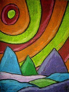 oil pastel landscapes