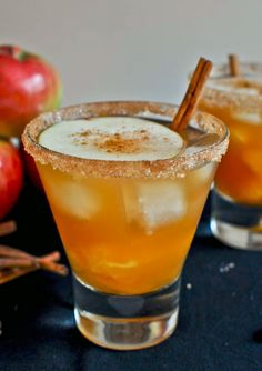 Apple Cider Margarita Recipe::::::        *1 ounce Grand Marnier  *1 ounce gold tequila  *5 to 6 ounces sweet apple cider  *orange segments and apple slices *cinnamon, cane sugar and coarse white sugar for rimming the glass  *cinnamon sticks for garnish   For the method and more Apple inspired #Fall cocktails visit: http://blog.gifts.com/entertaining-2/apple-themed-fall-cocktails