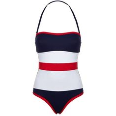 Max Mara Colour Block Bandeau Swimsuit (€170) ❤ liked on Polyvore featuring swimwear, one-piece swimsuits, bandeau swimsuits, one piece swimsuit, color block swimsuit, swim suits and color block bathing suit