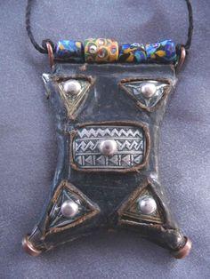 eBay | Old Leather Tuareg Talisman, venetian trade beads - TCHEROT - Niger