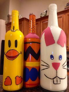 Painted wine bottles for Easter