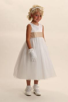 Sleeveless bridal satin bodice with multiple tulle overlay skirt,dress bridal quality and is made well and does not look like the cheap poly junk dresses that y. Yellow Flower Girl Dresses, Wedding Flower Girl Dresses, Bridal Dresses, Flower Girls, Holy Communion Dresses, Bridesmaid Outfit, Dresses For Less, Dresses 2013, Ivory Dresses