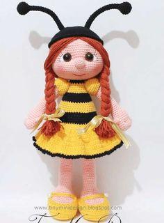 Amigurumi Bee Girl pattern by Tiny Mini Design Bunny Crochet, Crochet Bee, Crochet Motifs, Crochet Toys Patterns, Doll Patterns, Free Crochet, Design Patterns, Knitted Dolls, Crochet Dolls