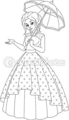 Princess Coloring Page Disney Drawings Sketches, Girl Drawing Sketches, Disney Princess Drawings, Girly Drawings, Art Drawings For Kids, Art Drawings Sketches Simple, Colorful Drawings, Cartoon Drawings, Embroidery Motifs