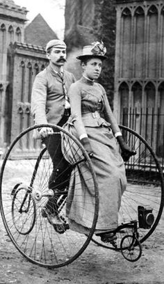 Victorian couple on a tandem bicycle 1890