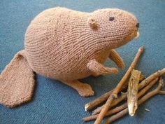 Free knitting pattern for Liam's Beaver toy softie and more wild animal knitting patterns