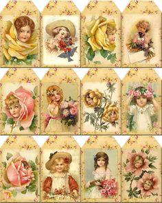 Vintage Flower Girl Hang Gift Tags