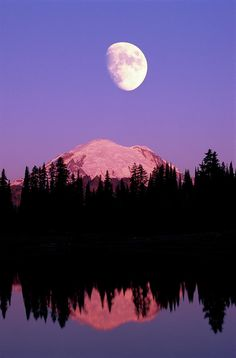 Tipsoo Lake And Full Moon At Mount Ranier National Park In Washington, by Steve Satushek.