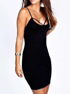 Spaghetti+Strap+Black+Bodycon+Dress+8.99