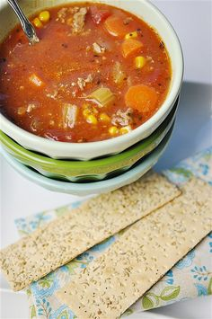 Hamburger Soup - use to love my grandma's hamburger soup so I saw this recipe and had to try it. The soup I thought was a little bland so I added a little cayenne, Worcester sauce, more veggies, liquid smoke, and whatever other spices I had in the house. Turned out pretty god.