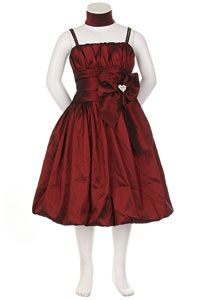 Flower Girl Dresses -   Girls Dress Style 1010- BURGUNDY Taffeta Spaghetti Strap Bubble Dress