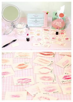 """Kiss Board ~ Create a """"kiss board"""" at the bachelorette party for the bride-to-be.   It makes a great keepsake that they can always remember a special day with their friends."""