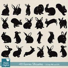 Bunnies Silhouette Clip Art Easter Bunny vector by kikaesteves
