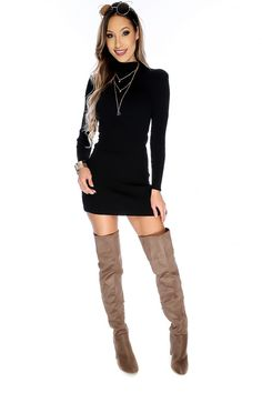 Show off your figure in this sexy sweater dress! It features; bold color, mock neck, knitted, long sleeves, ribbed, above the knee length, finished off with bodycon fitted wear. 100% Acrylic.