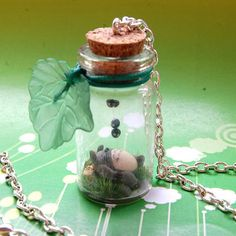 Totoro handmade necklace with bottled miniature by Akindoonline