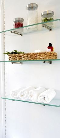 Use floating glass shelves for kitchen storage, organization and decor. Our wall shelves can be used as book shelves, closet shelves and bathroom shelves. We ship nationwide in days. Glass Shelf Brackets, Glass Shelves In Bathroom, Floating Glass Shelves, Glass Shelves Kitchen, Diy Bathroom, Shower Shelves, Diy Kitchen Storage, Diy Storage, Bathroom Storage