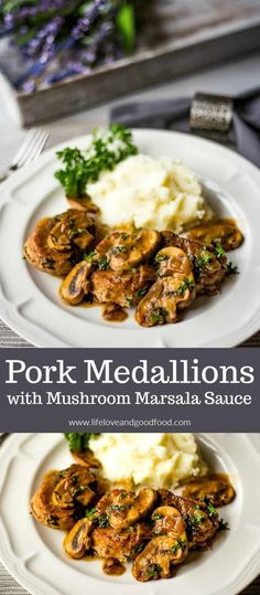 Pork Medallions with Mushroom Marsala Sauce. Pork Medallions with Mushroom Marsala Sauce. Tender pork tenderloin medallions simmered in a buttery mushroom marsala sauce — easy enough to prepare for a weeknight dinner! Pork Marsala, Marsala Sauce, Pork Tenderloin Medallions, Pork Recipes For Dinner, Recipe For Pork, Game Recipes, Beef Recipes, Cookie Recipes, Zucchini