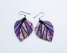 Paper Mosaic Earrings - Upcycled Earrings - Recycled Earrings - Medium Leaf Earrings - Purple Floral Print - Lavender Leaf Earrings