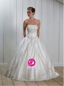 Mode de bal Sans bretelles Traîne courte Robe de mariée en Taffetas avec Broderie Dentelle Ruché(FR0254945)