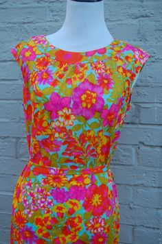 1960s Bright Floral Dress  Belted Shift by LittleGhostVintage, $32.00