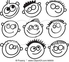 Royalty-Free (RF) Clipart Illustration of a Digital Collage Of Black And White Grinning Boy Stick People Faces by Prawny #48909