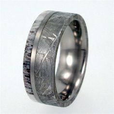 Meteorite Ring / Deer Antler and Gibeon Meteorite inlay